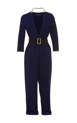 Navy viscose jumpsuit by MARTIN GRANT Now Available on Moda Operandi