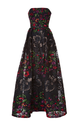 Embroidered floral guipure strapless gown by ELIE SAAB Now Available on Moda Operandi