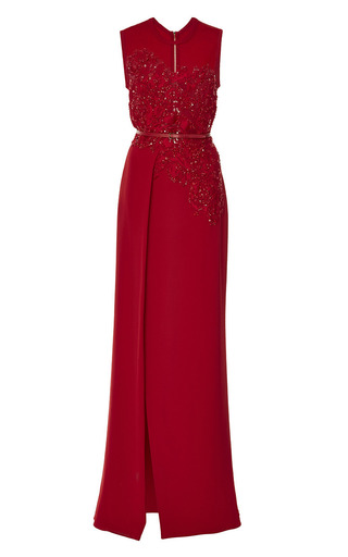 Red crepe cady embroidered gown by ELIE SAAB Now Available on Moda Operandi