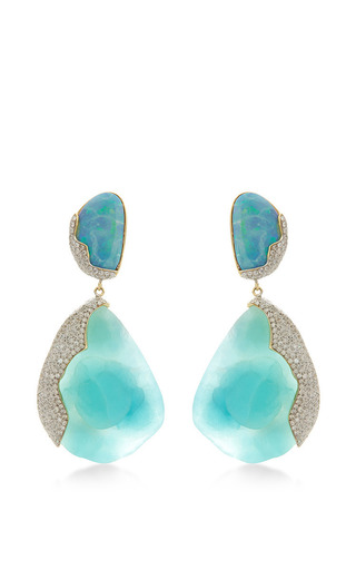 one of a kind 18k gold with hemimorphite opal and