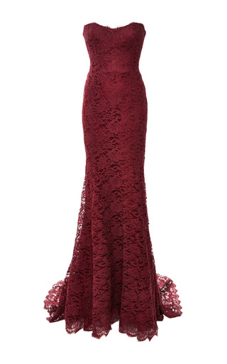 Red lace strapless gown by MONIQUE LHUILLIER Now Available on Moda Operandi