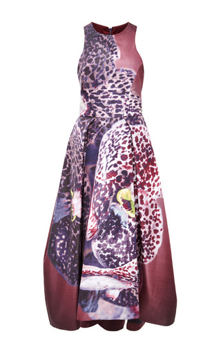 Orchid print silk faille structured dress by MONIQUE LHUILLIER Now Available on Moda Operandi