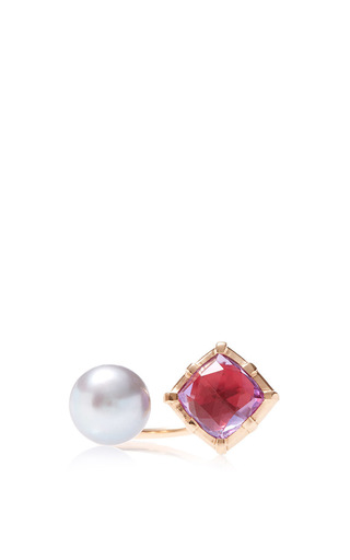 Red bella open ring with pearl by LARKSPUR & HAWK Now Available on Moda Operandi