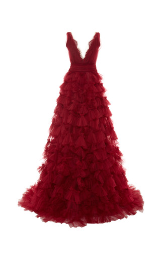Layered embroidered tulle ball gown by MARCHESA Now Available on Moda Operandi