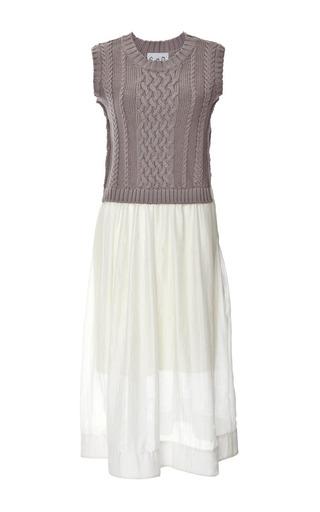 Grey Cozy Knits And Pleats Dress by SEA Now Available on Moda Operandi
