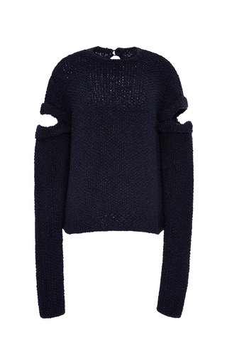 Slit Sleeve Hand Knit Sweater In Navy by ROSIE ASSOULIN Now Available on Moda Operandi