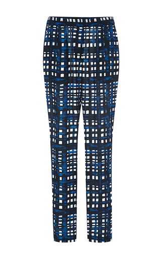 Painted Grid Georgette Straight Pant by THAKOON ADDITION Now Available on Moda Operandi