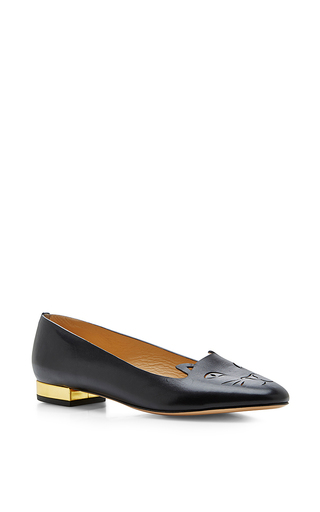 Black leather kitty flats by CHARLOTTE OLYMPIA Available Now on Moda Operandi
