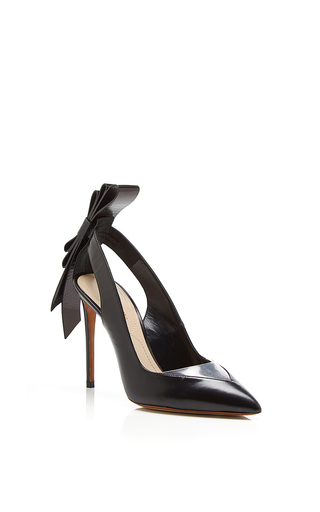 Black leather and clear pvc origami back bow pointed toe pump by NICHOLAS KIRKWOOD Now Available on Moda Operandi