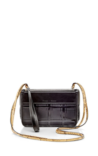 Black leather z cross body bag with python strap by PROENZA SCHOULER Available Now on Moda Operandi
