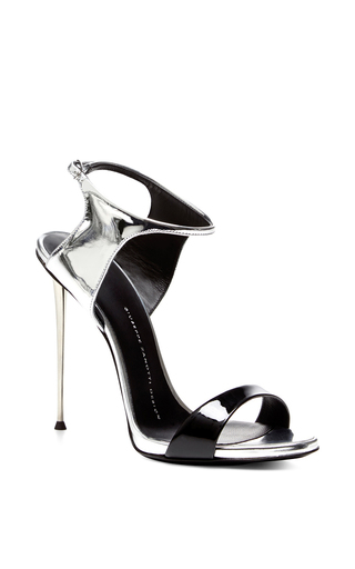 Black and silver sandal with metal heel by GIUSEPPE ZANOTTI Available Now on Moda Operandi