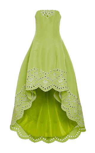 Green cut-out strapless gown by OSCAR DE LA RENTA Available Now on Moda Operandi