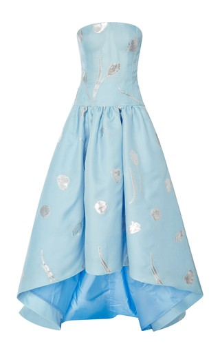 Embroidered hi-low strapless gown by OSCAR DE LA RENTA Available Now on Moda Operandi