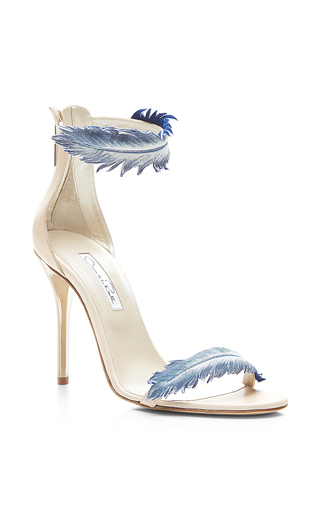Aubree feather-detail suede high-heel sandals by OSCAR DE LA RENTA Available Now on Moda Operandi