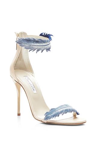 Aubree feather-detail suede high-heel sandals by OSCAR DE LA RENTA Available Now on Moda Operandi