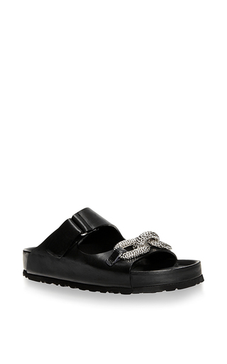 Leather slides with pave chain by GIAMBATTISTA VALLI Available Now on Moda Operandi