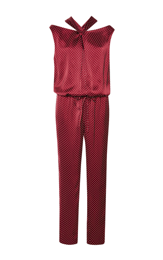 Twist front polka dot jumpsuit by THAKOON Available Now on Moda Operandi