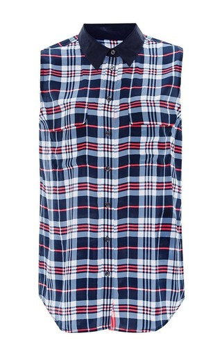 Plaid sleeveless silk top by EQUIPMENT Now Available on Moda Operandi