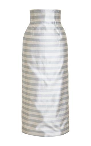 Striped satin midi skirt by KATIE ERMILIO Now Available on Moda Operandi