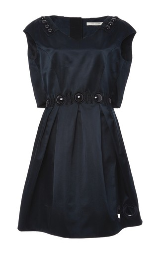 Silk v-neck dress with cabuchon and guipure detail by MARC JACOBS Now Available on Moda Operandi