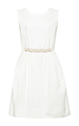 Cabuchon-detail sleeveless white dress by MARC JACOBS Now Available on Moda Operandi