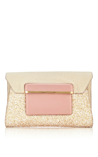 Leather and glitter envelope clutch by MARY KATRANTZOU Available Now on Moda Operandi