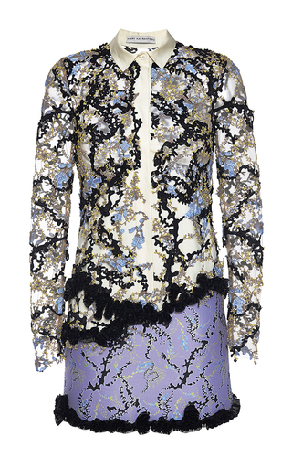 Andre embellished dress with collar by MARY KATRANTZOU Available Now on Moda Operandi