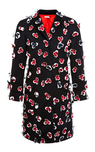 Floral applique navy cashmere chesterfield coat by THOM BROWNE Now Available on Moda Operandi