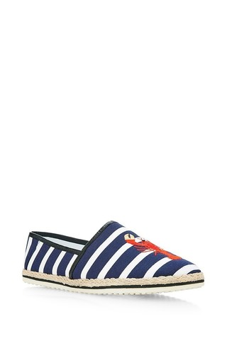 Striped lobster embroidered espadrilles by MOTHER OF PEARL Now Available on Moda Operandi