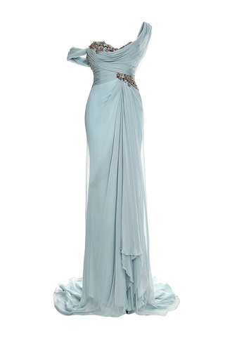 Embroidered one-shoulder chiffon gown by MARCHESA Available Now on Moda Operandi