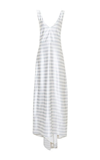 Striped a-line tailor bow tank gown by KATIE ERMILIO Now Available on Moda Operandi