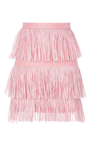 Pink fringe mini skirt by MSGM Available Now on Moda Operandi
