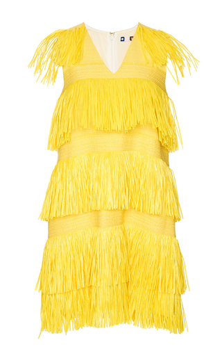 Yellow fringe v-neck dress by MSGM Available Now on Moda Operandi