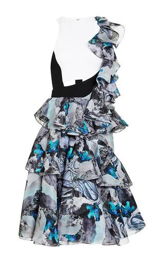 Silk ruffle shoulder cutout dress with ruffle skirt by PRABAL GURUNG Available Now on Moda Operandi