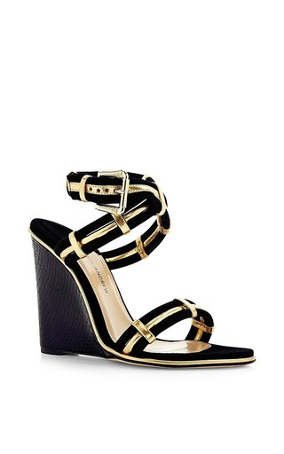 Nikaia 100mm wedge heel ankle-wrap sandal by PAUL ANDREW Now Available on Moda Operandi