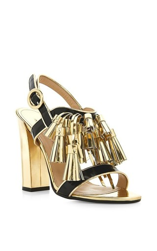 Arta gold tassle sandals with block heel by PAUL ANDREW Available Now on Moda Operandi