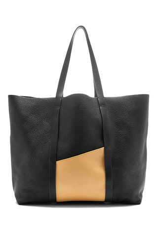 Cabas black leather tote with nude detail by PERRIN PARIS Now Available on Moda Operandi