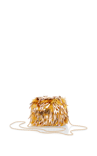 Gold mini chain bag with fringe embroidery by ROCHAS Available Now on Moda Operandi