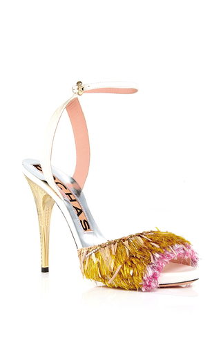 Pink gold fringed grosgrain sandals by ROCHAS Now Available on Moda Operandi