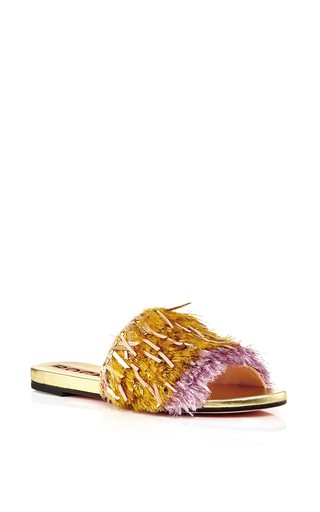 Pink gold fringed slip on flats by ROCHAS Available Now on Moda Operandi