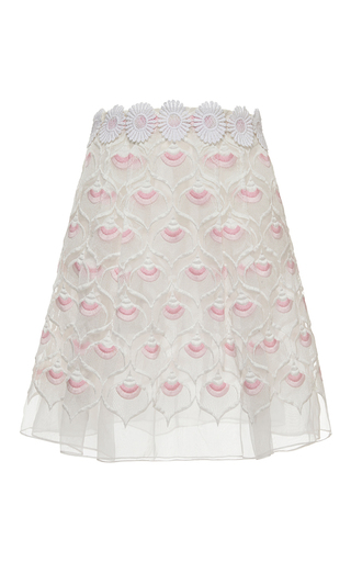 Embroidered skirt with daisy belt by GIAMBA Available Now on Moda Operandi