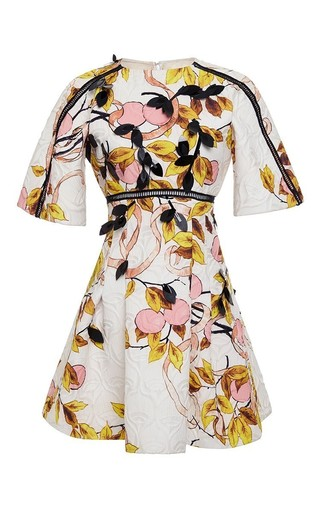 Leaf printed mini dress with sleeves by GIAMBA Available Now on Moda Operandi