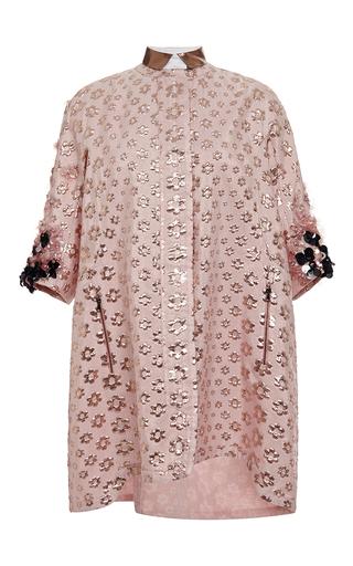 Printed coat with embellished sleeves by GIAMBA Available Now on Moda Operandi