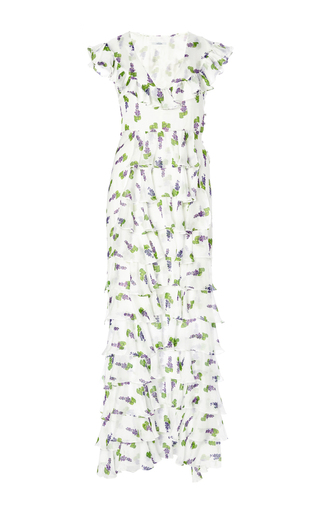 Silk printed reverse peacock dress by ISOLDA Available Now on Moda Operandi