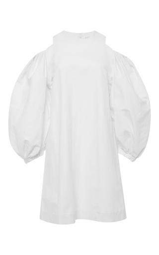 Balloon sleeve open shoulder white dress by ISA ARFEN Available Now on Moda Operandi