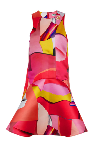 Paper duchess printed satin sleeveless dress by KENZO Available Now on Moda Operandi