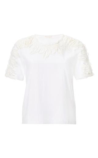 Embroidered white t-shirt by GIAMBATTISTA VALLI Now Available on Moda Operandi