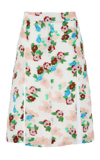Pleat front floral skirt by THOM BROWNE Available Now on Moda Operandi
