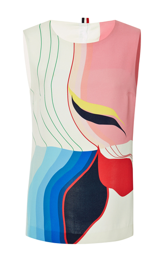 Printed silk sleeveless blouse by THOM BROWNE Now Available on Moda Operandi