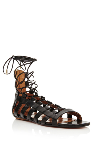 Black calf leather amazon flats by AQUAZZURA Available Now on Moda Operandi